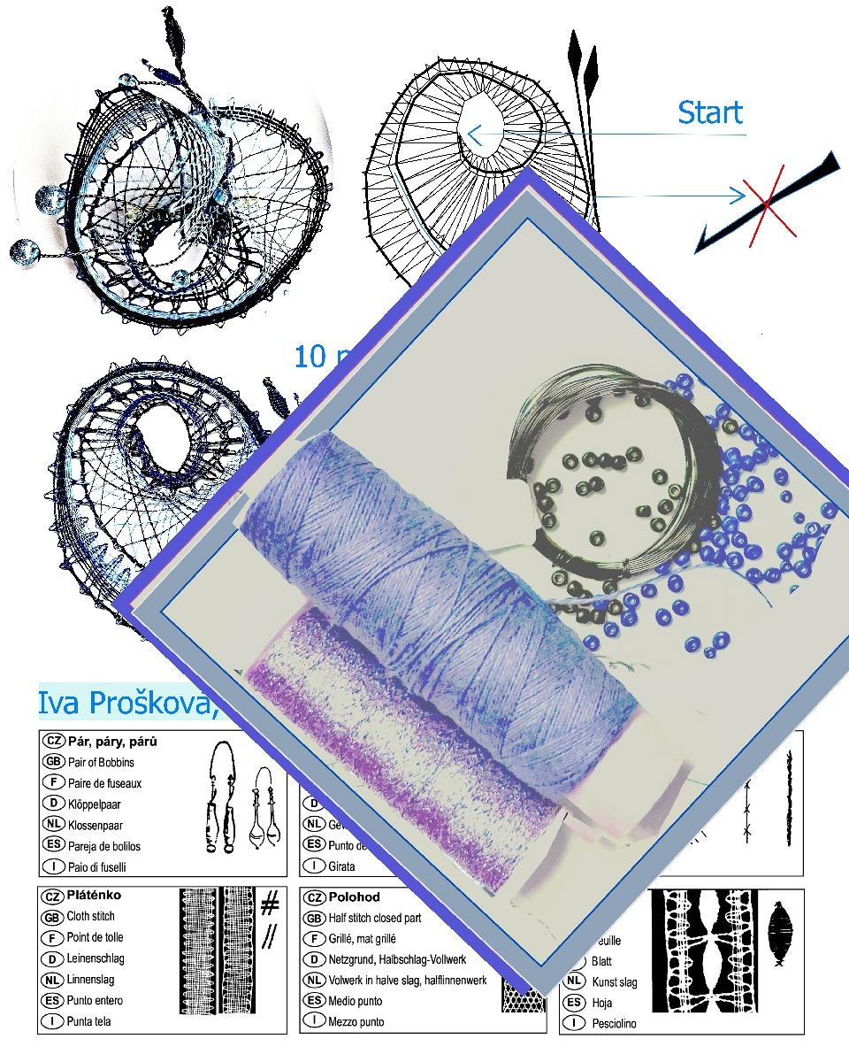 Špendlík krajkový modrý 537