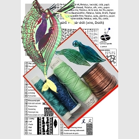 Náhrdelník se skleněnými lístky náhodná barva